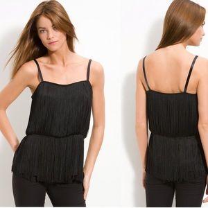 Theory Pardia Silk Fringe Shirt, EUC, medium